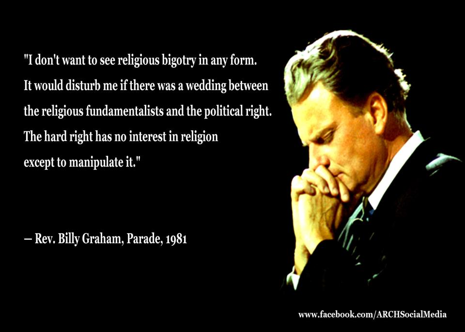 Billy Graham fears the Right
