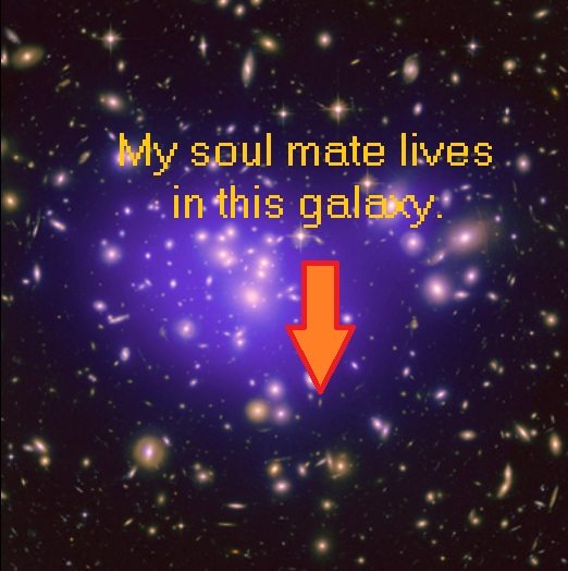 Galaxy cluster showing the galaxy where my soul mate lives