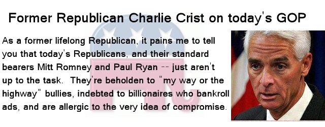 Former Republican Charlie Crist criticizes today's Republicans