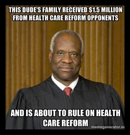 Clarence Thomas's family received $1.5 million from health care reform opponents