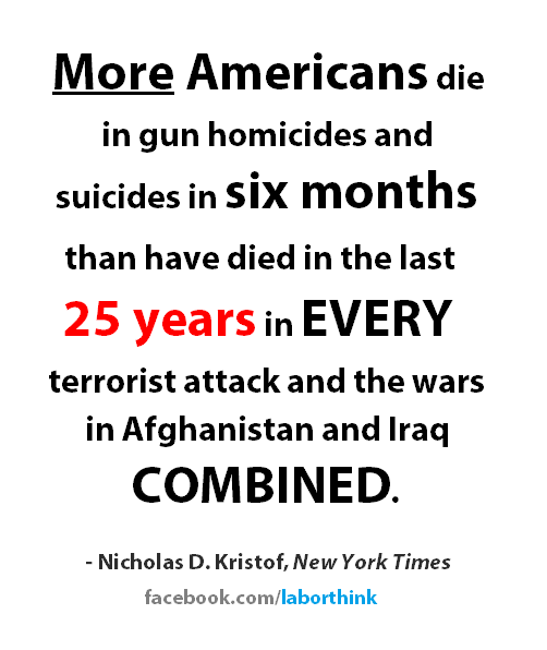 Gun deaths much higher than deaths from war and terrorism