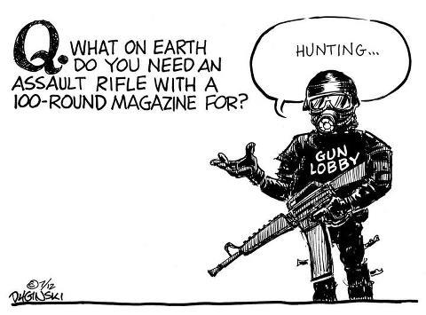 What on earth do you need an assault rifle with a 100-round magazine for? Hunting?