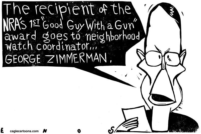 The first NRA Good Guy Award goes to George Zimmerman