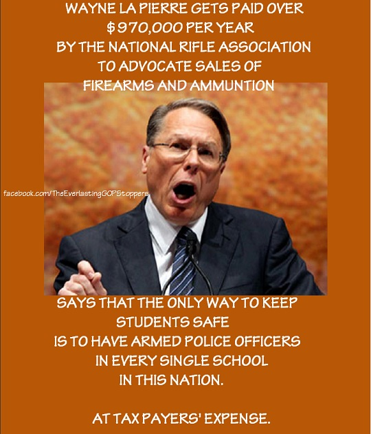 La Pierre, NRA chief, is a lobbyist for gun manufacturers