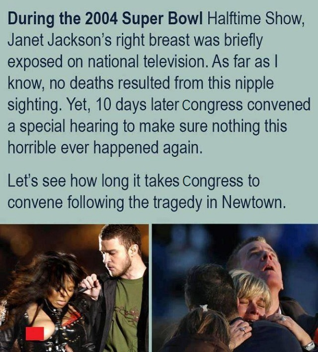 Janet Jackson's breast led to a Congressional hearing, but not the Newtown massacre