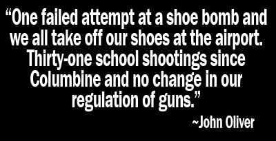 One failed shoe bomb versus 32 school shootings