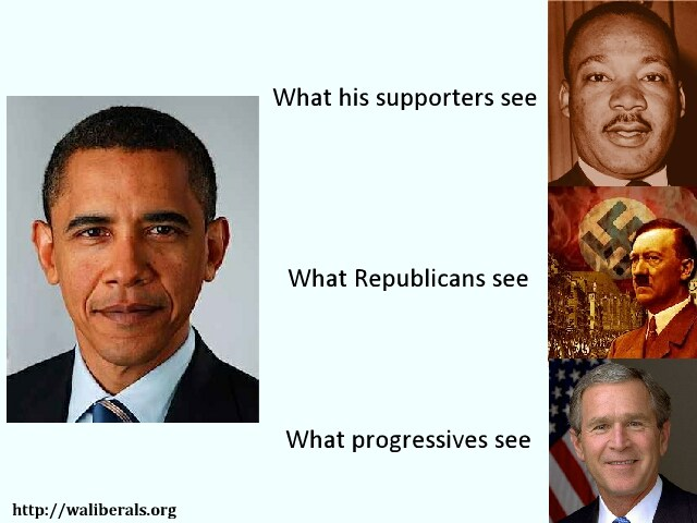 What people see in Obama: his supporters see MLK, Republicans see Hitler, progressives see GWB