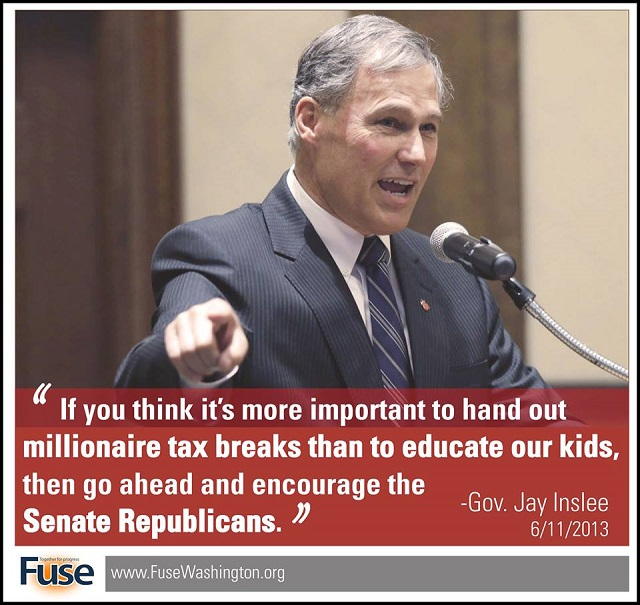 Inslee on Senate Republicans' support of millionaires, at the expense of education