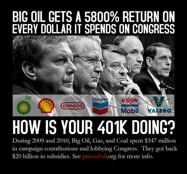 5800% return on investment by Big Oil for every dollar it spends on Congress