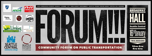 Forum on Public Transportation, Jan 16, Seattle