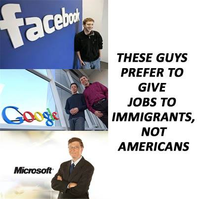 Bill Gates and Mark Zuckerberg import foreign workers