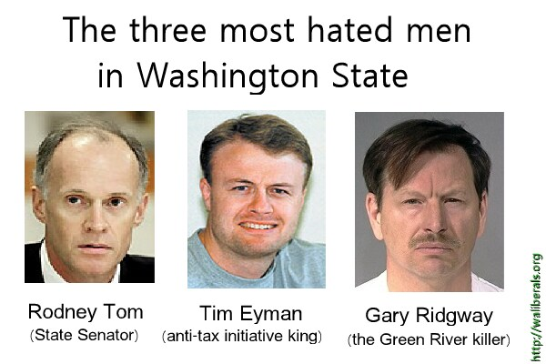 The Three Most Hated men in Washington State: Rodney Tom, Tim Eyman, Gary Ridgway