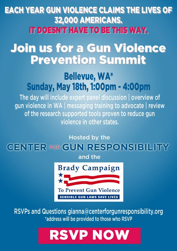Gun Violence Prevention Summit, Bellevue, May 18